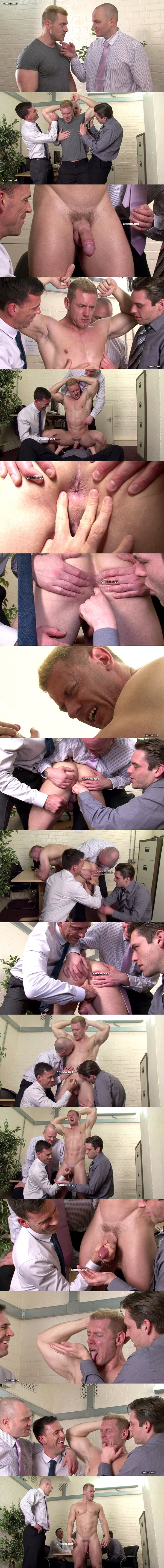 Masculine bodybuilder Enrico gets foot worshiped, ass fingered and Jerked off by three loan sharks at Cmnm 02