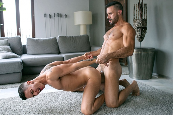 Sexy Spanish studs Angel Cruz and Flex Xtremo flip-fuck before Angel gets a hot hand free orgasm at Cockyboys