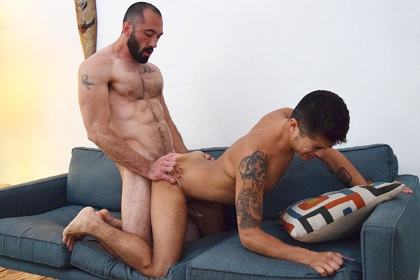 Masculine daddy Alex Lebue barebacks and breeds cute latino Paolo at Dirtytony
