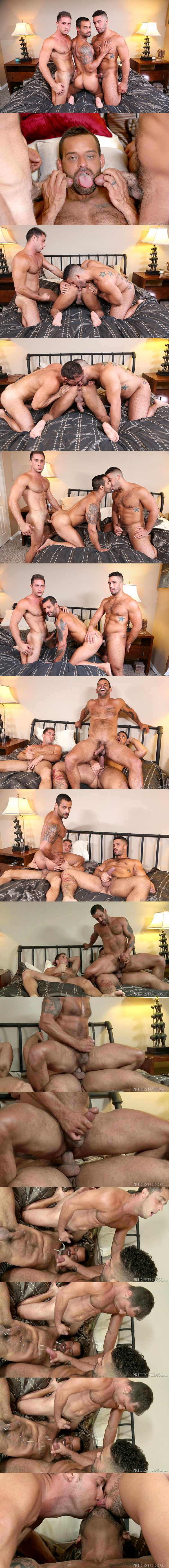 Trey Turner and Armando De Armas fuck David Benjamin before they blow three hot loads at Extrabigdicks 02