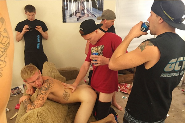 Tyler, Luke and Mickey gangbang creampie new frat dude Corey in Gang Bang Bitch Bro at Fraternityx