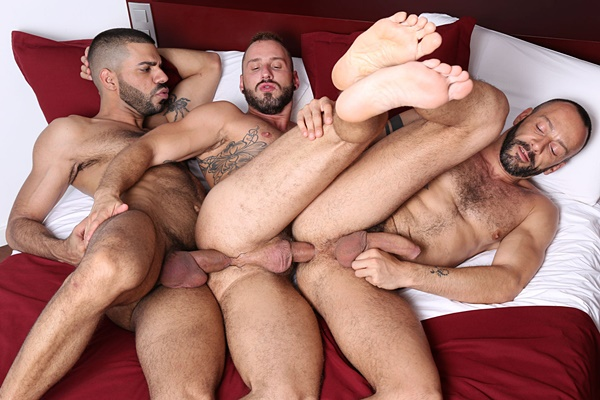 Hugo Arenas barebacks and breeds Alberto Esposito and Antonio Miracle in In The Flesh Scene 6 at Kristenbjorn
