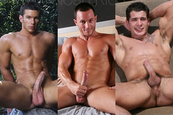 Super hot muscle jocks Mark Murano, Noah Ridge & Ross Marcini shoot their creamy loads at Legendmen