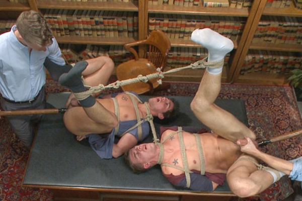 Hot muscle jocks Jett Jax and JJ Knight get bound, dildo fucked, tormented, worshiped, edged and jerked off at Menonedge