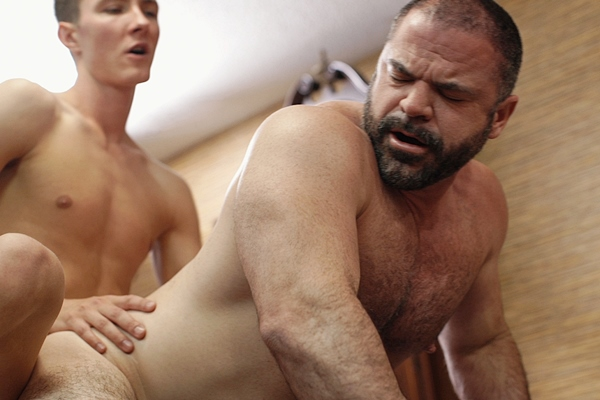 Elder Sorensen barebacks masculine daddy Bishop Angus until he creampies Angus in Inspection at Mormonboyz