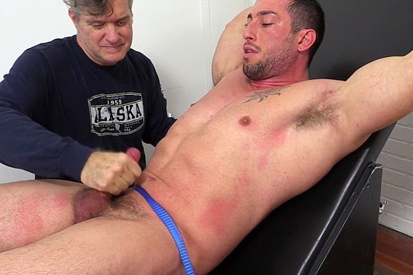 Hot muscle hunk Casey More gets his muscular body tickled before he gets jerked off at Myfriendsfeet