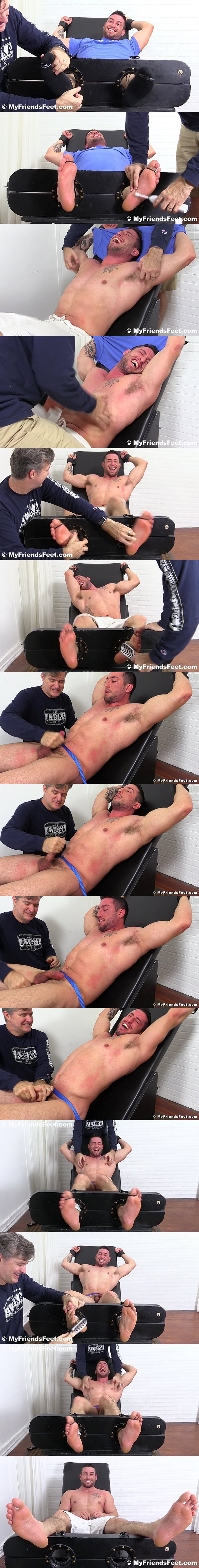 Hot muscle hunk Casey More gets his muscular body tickled before he gets jerked off at Myfriendsfeet 02