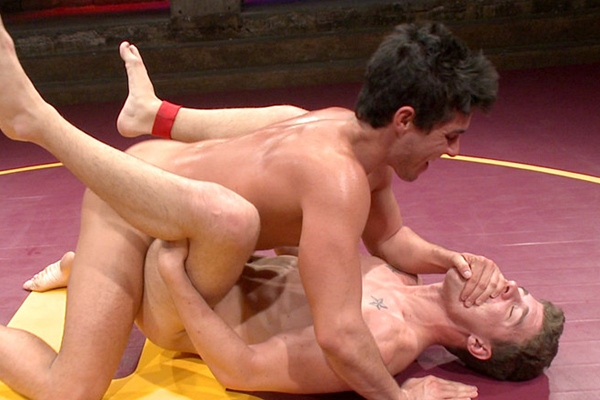 Jett Jax fucks JJ Knight's tight virgin ass before they shoot two big loads at Nakedkombat