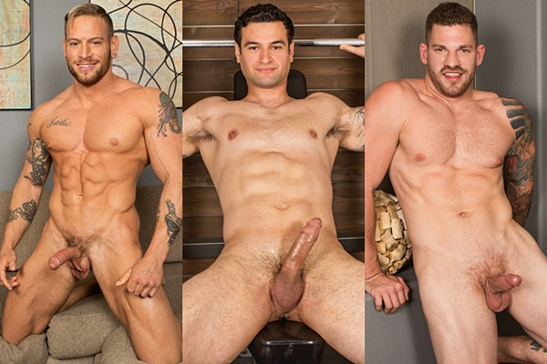 Handsome muscle jocks Brennan, Hoyt and Keegan shoot their creamy loads at Seancody