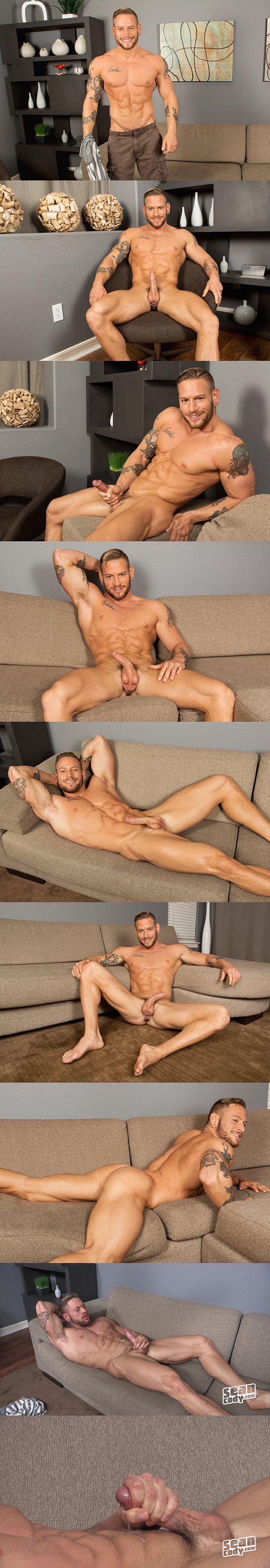Masculine hunk Brennan shows off his hot ripped body and shoots his sticky loads at Seancody
