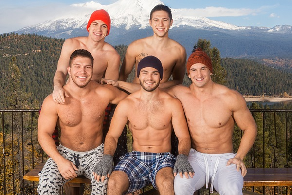 Muscle jocks Lane, Brodie, Joey, Tanner and Rowan have hot bareback orgy in Winter Getaway Day 1 at Seancody