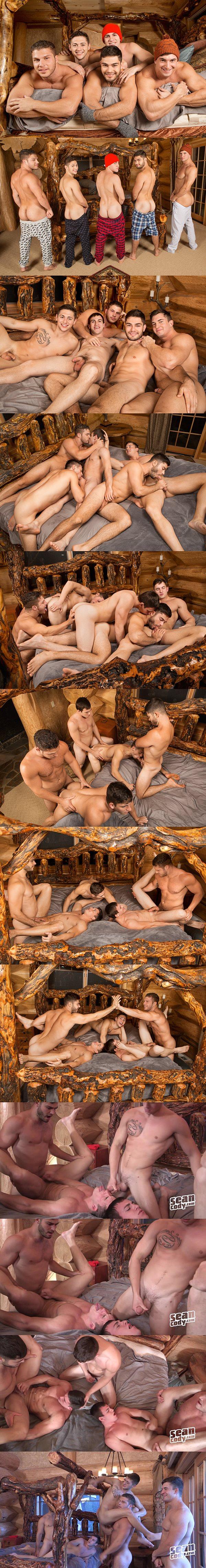 Muscle jocks Lane, Brodie, Joey, Tanner and Rowan have hot bareback orgy in Winter Getaway Day 1 at Seancody 02