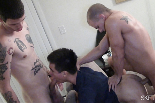 Nicko, Zack, Eli Hunter and Aaron gangbang creampie Josh in Feed Me Cum at Sketchysex