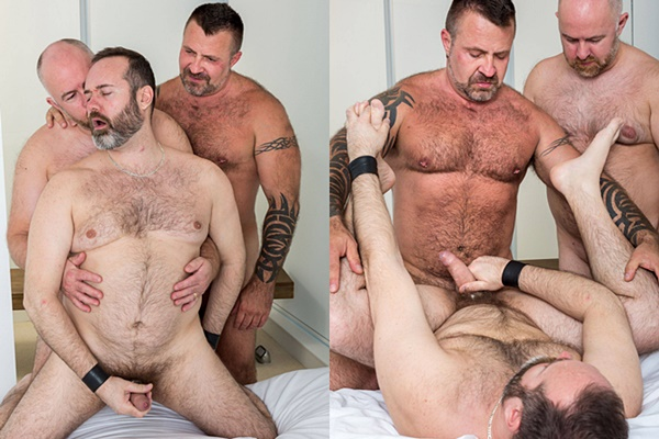 Daddy bear Guy English fucks Joe Hardness and Marc Angelo before they shoot three hot loads at Bearfilms