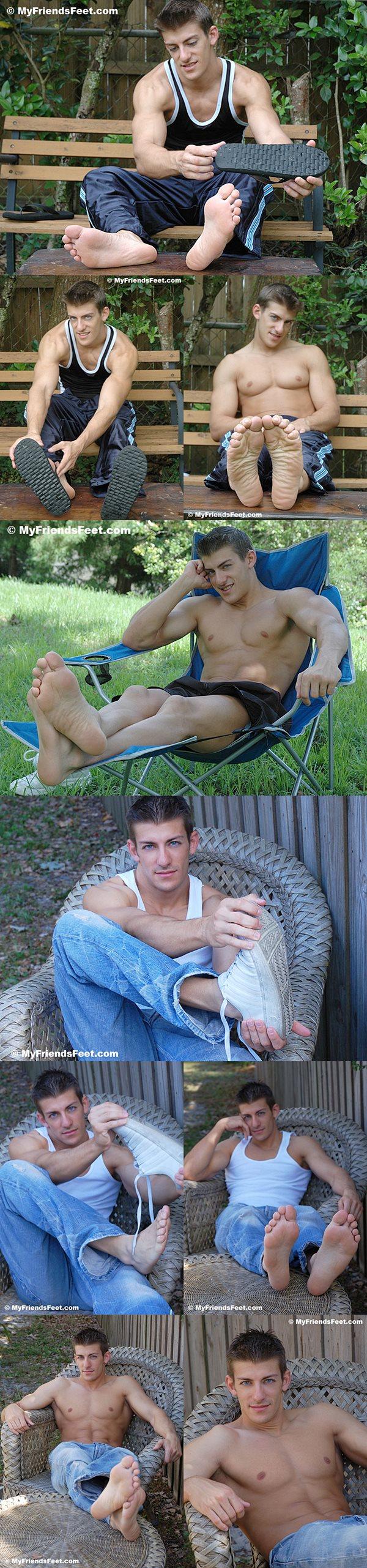 Super handsome straight jock Devon (aka Zack Johnathan) tickled at Myfriendsfeet