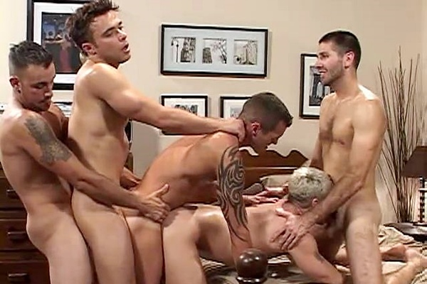 Drew Peters, Erik, Andre Barclay, Craig Daniel and Nelson Troy have a bareback orgy at Hotbarebacking