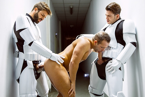 Paddy O'Brian, Hector De Silva and troopers gangbang Luke Adams in Star Wars 4 A Gay XXX Parody at Jizzorgy