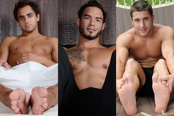 Hot muscle jocks Azif, RJ and Tad get foot worshiped and tickled at Myfriendsfeet