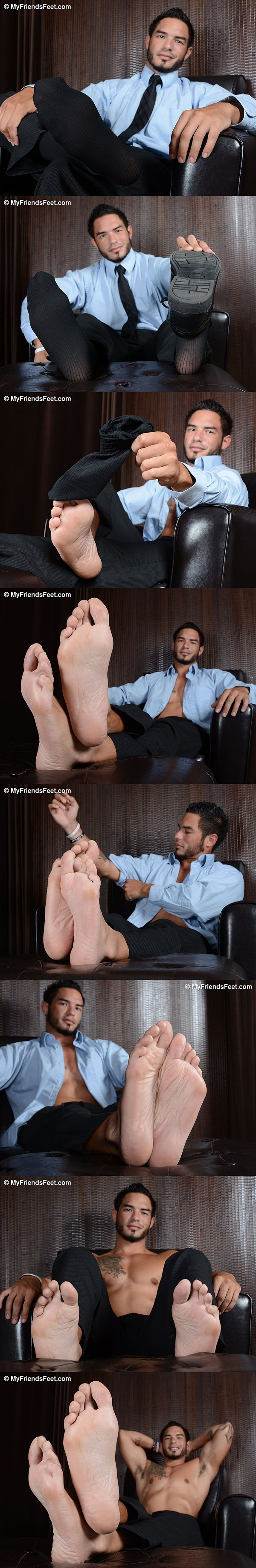 Hot masculine hunk RJ gets his big feet worshiped at Myfriendsfeet