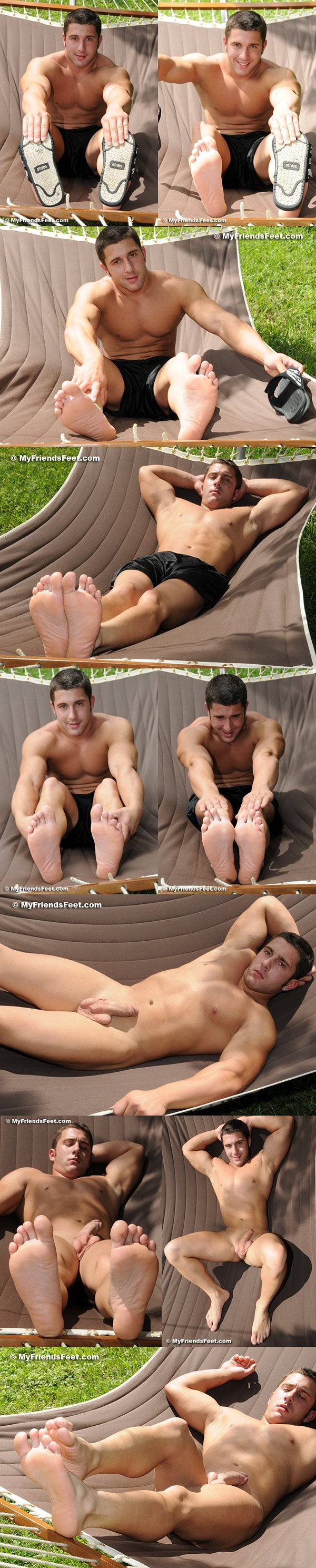 Handsome muscle jock Tad gets his big feet worshiped and tickled at Myfriendsfeet