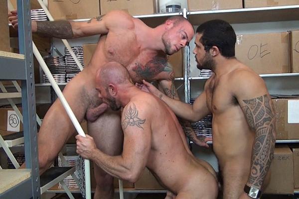 Mario Cruz barebacks Sean Duran & Matt Stevens before he fucks the cum out of Sean and Matt at Rawfuckclub