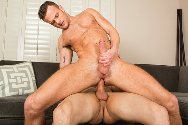 Big-dicked Randy and Sean bareback flip-fuck until Randy Creampies Sean at Seancody