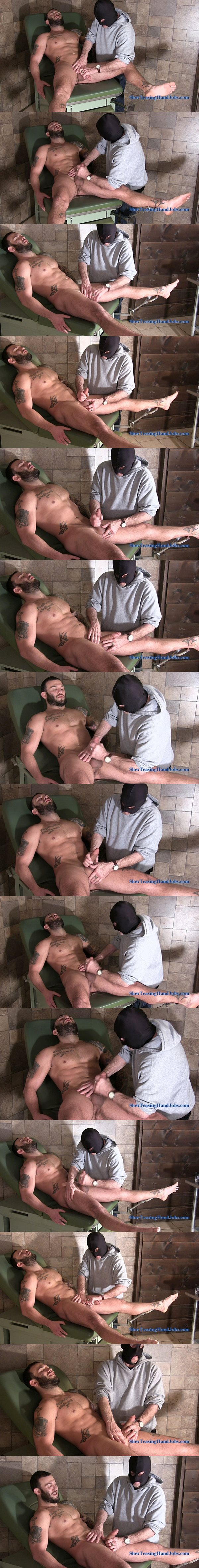 Masculine hunk Tony gets jerked off by the mystery edger at Slowteasinghandjobs 02