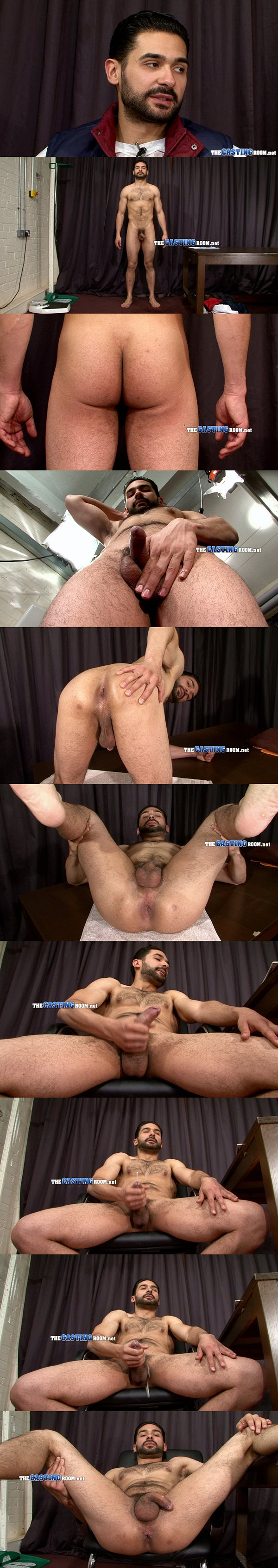 Masculine Hetero Marco shows off his strong hairy body before he jerks off at Thecastingroom