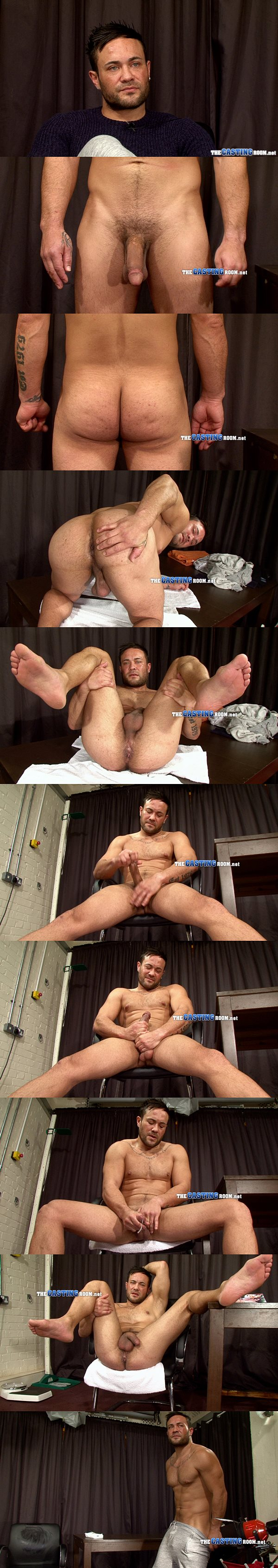 Sports therapist, macho personal trainer Shane jerks the cum out of his big hard dick at Thecastingroom
