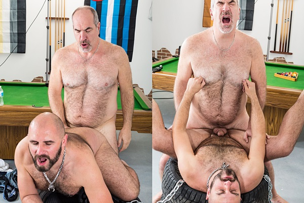 Martin Pe barebacks and breeds hot muscle bear Vince Stewart's tight ass at Bearfilms