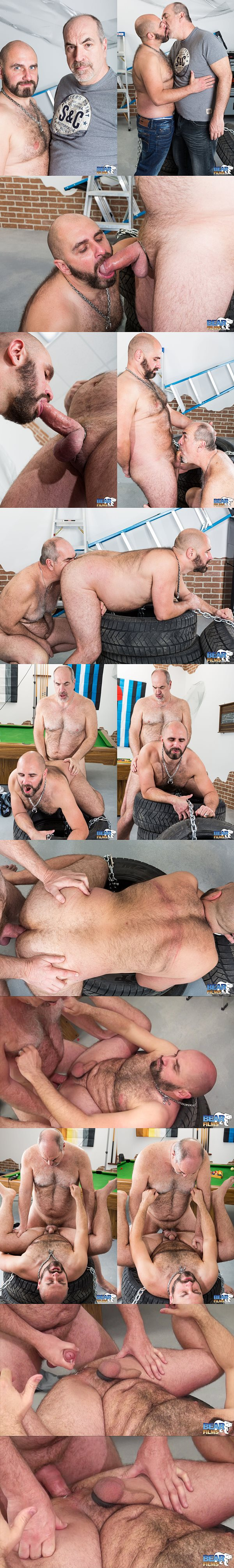 Martin Pe barebacks and breeds hot muscle bear Vince Stewart's tight ass at Bearfilms 02