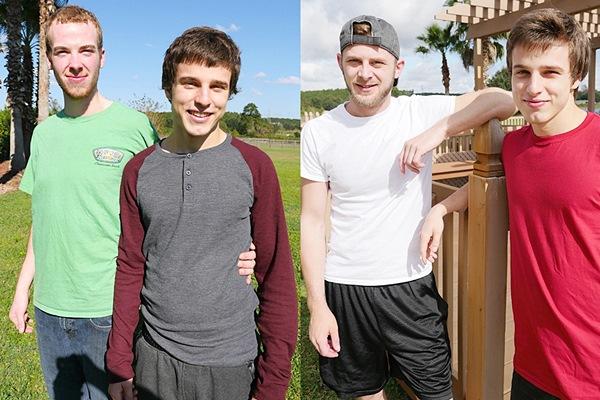 Cute newcomer Jesse Avalon barebacks Chandler Scott and Kyle Porter at Brokestraightboys