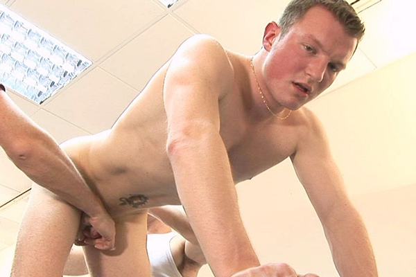 Hot straight dude Ronni gets his tight virgin ass finger and dildo fucked before he gets jerked off at Gropinghands