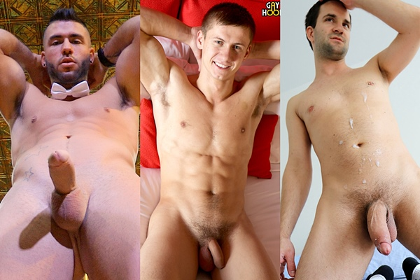 Hot muscle jocks Junior, Max Markoff, Tim Brant shoot their hot loads