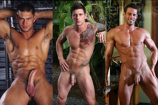 Super handsome muscle hunks Brad Brockwell, Luke Cannon & Trent Titus jerk off at Legendmen