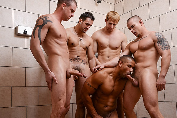 A Sneak Peek of Adam Bryant, Cameron Foster and Darin Silvers fucking Robert Axel and Phenix Saint at Jizzorgy 01