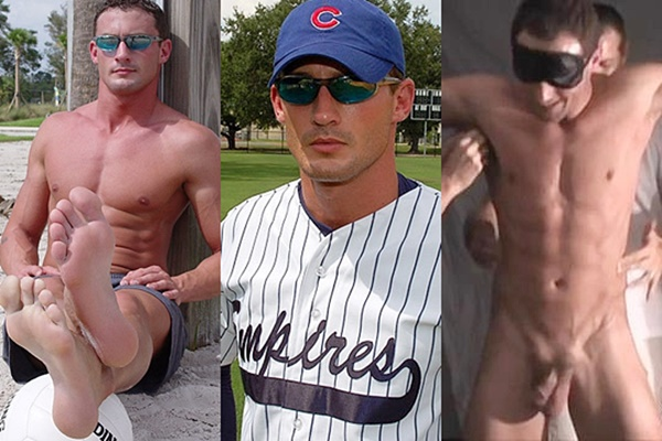 Hot straight jock, baseball pitcher Davis gets tied up naked and tickled hard at Myfriendsfeet