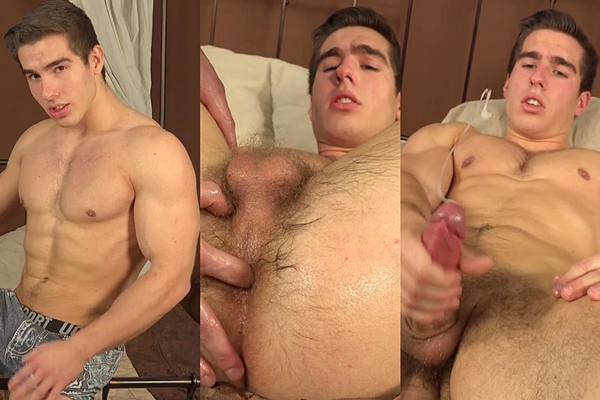 Handsome muscle jock Erik Drda gets massaged, finger and dildo fucked and jerked at Williamhiggins