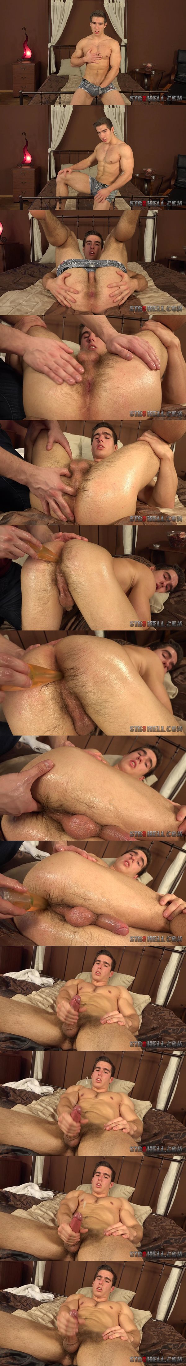 Super hot straight muscle jock Erik Drda gets his tight virgin ass finger and dildo fucked before he jerks off at Str8hell