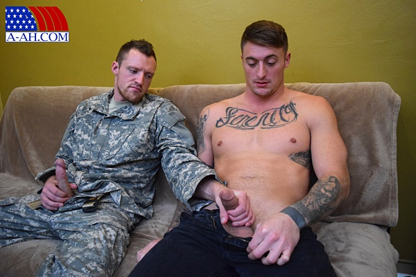 Handsome corporal Dane gets his first gay blowjob until Dane gives his macho buddy a hot facial at All-americanheroes