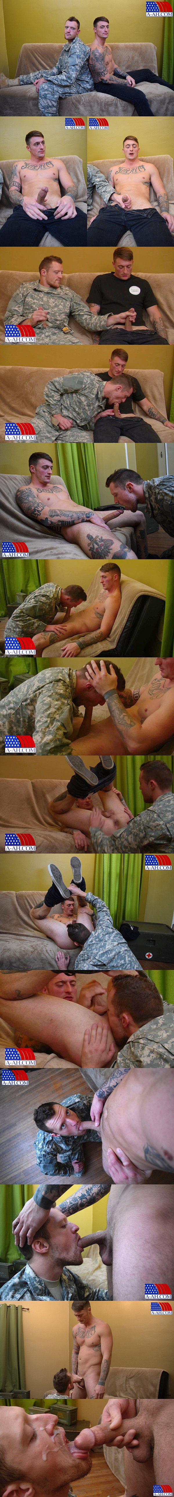 Handsome corporal Dane gets his first gay blowjob until Dane gives his macho buddy a hot facial at All-americanheroes 02
