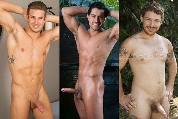 Hot straight guys Coen, Duke Lucas and Red Ray shoot their hot loads