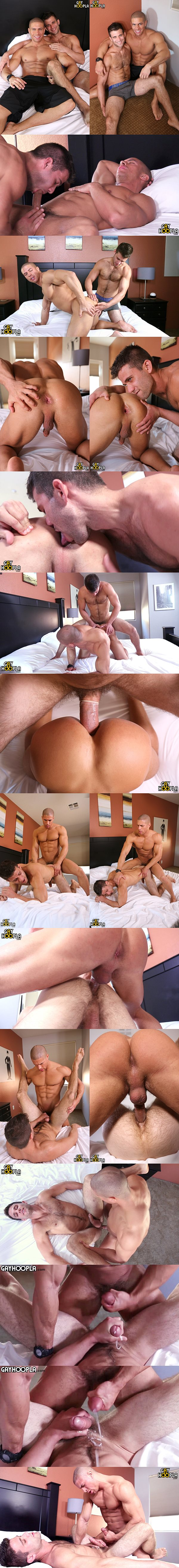 Sean Costin and Cole Money take turns fucking each other's muscle asses at Gayhoopla 02
