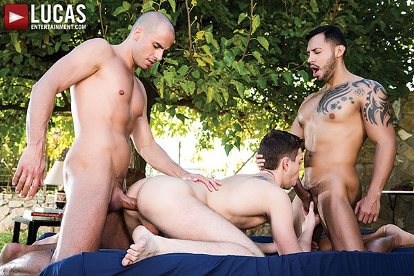 Two hung tops Viktor Rom and Diego Summers bareback Dylan O'Hardy at Lucasentertainment
