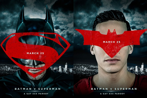 Trenton Ducati plays Batman and Topher DiMaggio plays Superman in Batman VS Superman Gay XXX Parody at Men