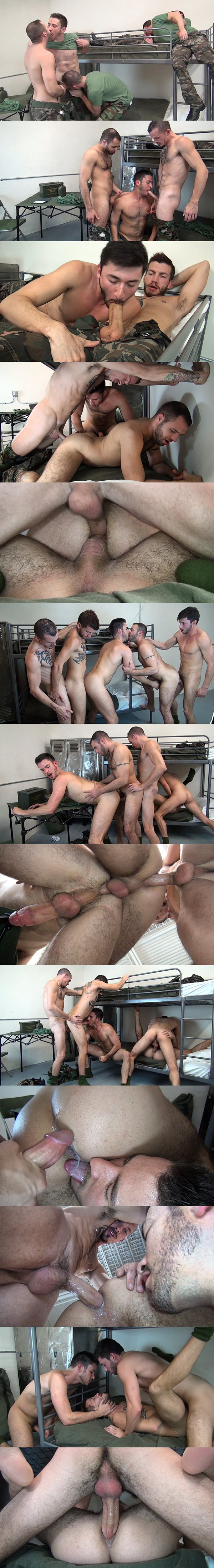 Braxton Smith, Jimmie Slater, Justin Case, Owen Powersa and Scott DeMarco fuck each other in Bareback Barracks Fuckers at Rawfuckclub 02