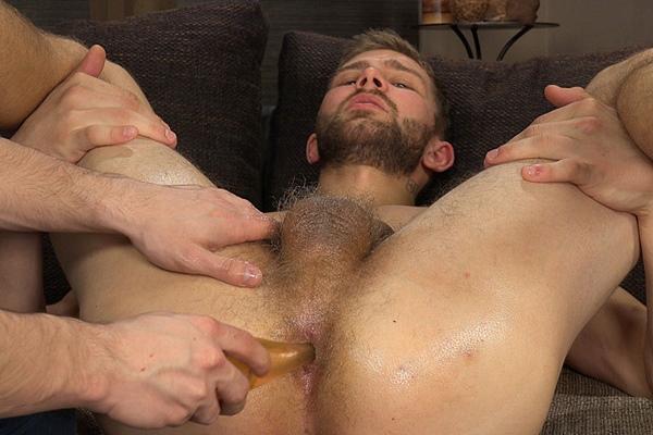 Sexy straight hunk Nikol Monak gets his tight virgin ass finger & dildo fucked at Str8hell