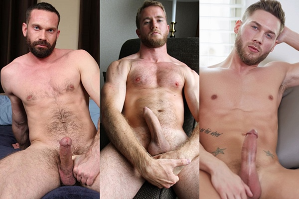 Hot bearded studs Cliff, Drake Temple and Hugh shoot their creamy loads