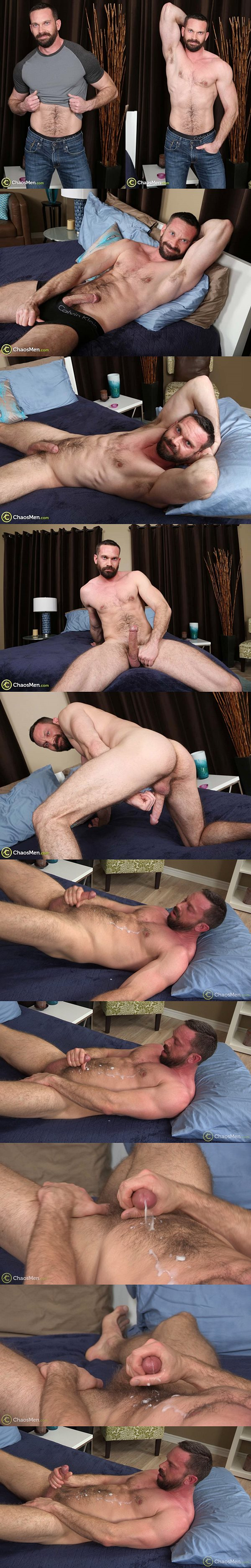 Hot bearded hairy hunk Cliff shoots his big loads at Chaosmen