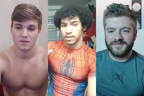 Hot straight jocks Kyle Dean, Lorenzo Joseph and Sean Holmes jerk off at Gayhoopla